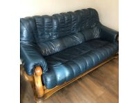 3 PIECE LEATHER SUITE (SETTEE AND TWO CHAIRS) FOR SALE
