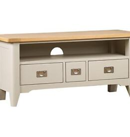 Brand New Ex-Demo 'Harbour' (DFS) Grey Painted & Oak TV Stand