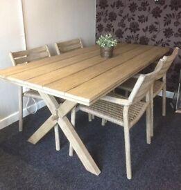 "Ex Display-John Lewis ""Islay"" Large Garden Dining Table & 4 islay Dining Chairs"