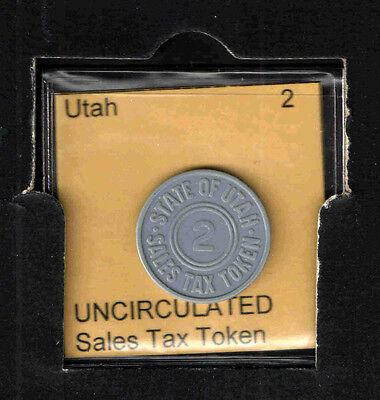 UTAH 2 Gray Plastic SALES TAX TOKEN RECEIPT    UNCIRCULATED