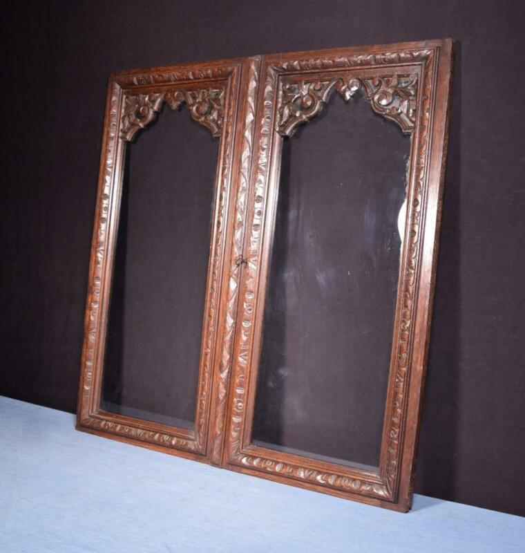 *Pair of French Antique Oak Wood & Glass Panels/Cabinet Doors Highly Carved
