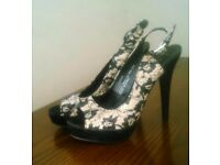 BRAND NEW black lace shoes size 6