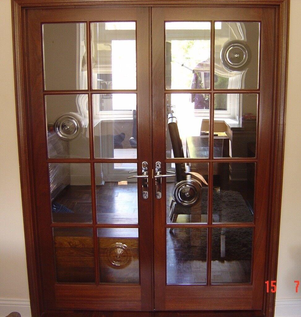 Set Of 2 Dark Varnished Hardwood Internal Doors With Gl Panels