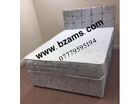 BZAMS Crushed Velvet Full Set Beds 3ft Single, 4ft6 Double, 5ft King With Or Without Draws