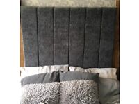 King size grey tall headboard