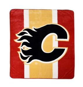 "New NHL Ice Hockey Calgary Over sized Velour Blanket 60""x 80"" Official"
