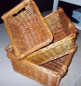 Set of 3 Honey Wicker Baskets