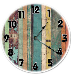 12 COLORED BOARDS ORANGE TEAL BROWN TAN CLOCK - Large 12 inch Wall Clock - 2056