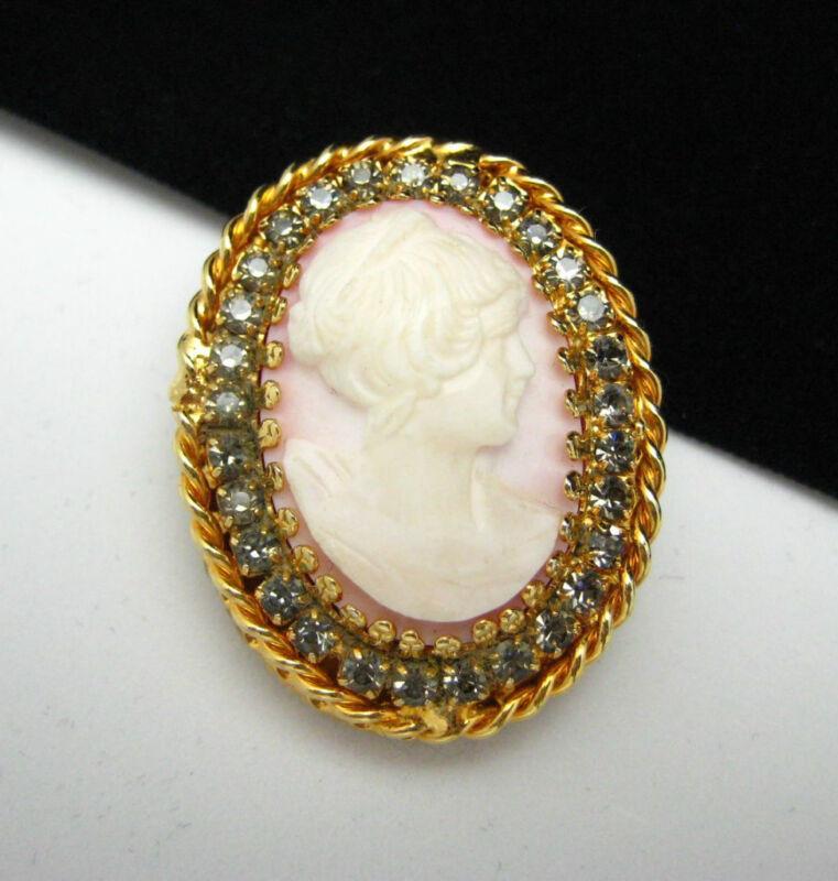 Vtg HOBE Cameo Brooch Pin-Smoky Gray Rhinestones, Pink, White