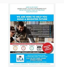 ADMISSIONS OPEN for Business Degree, HNC/HND, Top Up 20/21- Student Finance Available