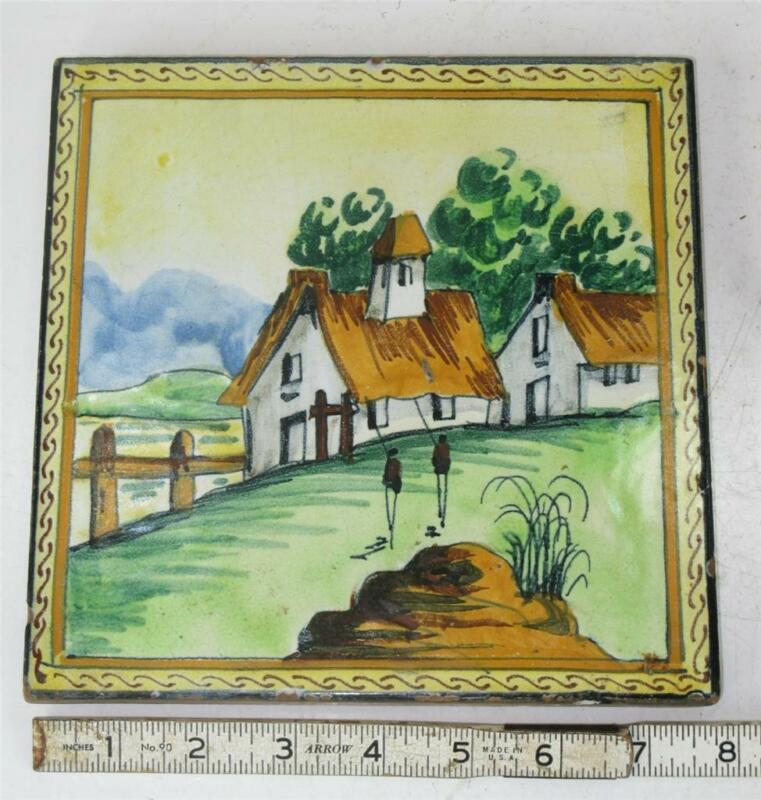 ANTIQUE STINGO-NAPOLI ITALY, ITALIAN POTTERY TILE HAND MADE AND PANTED TRIVET