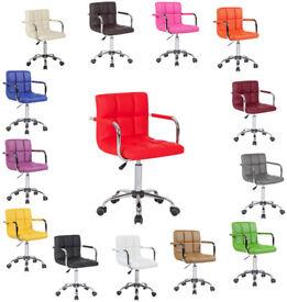 *£35* Cuban Executive PU Faux Leather Computer Office Desk Swivel Studio Salon Barber Wheels Chair
