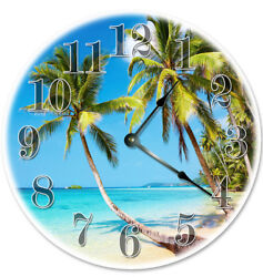 12 PALM TREES ON THE BEACH CLOCK - Large 12 inch Wall Clock - 2083