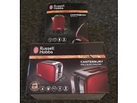 Russell Hobbs Canterbury red kettle and two slic toaster