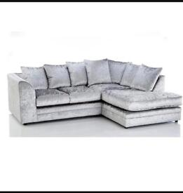 Brand new silver crushed velvet fabric corner sofa