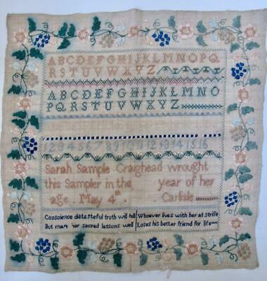 Very Early Antique Embroidered Sampler Hand Woven Linen Silk Letters Motto 1800s