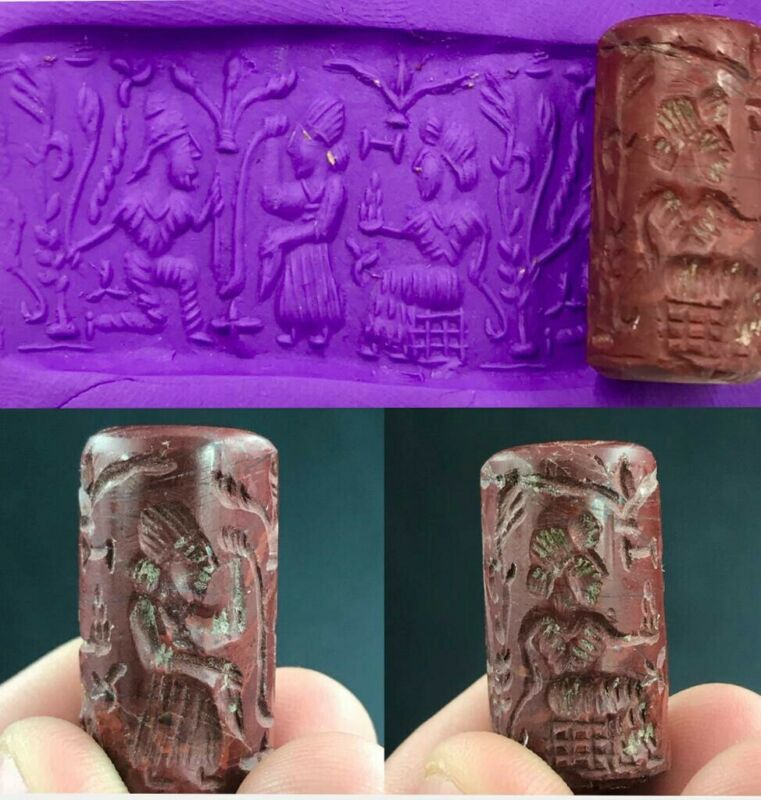 Ancient old Jasper Stone Cylinder seal Kings God worship Intaglio Seal Bead