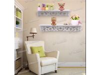 NEW 2 x White Shabby Chic Filigree Style Wood Shelves Cut Out Design Wall Shelf Home
