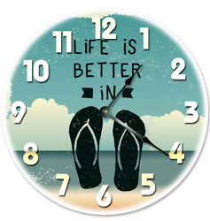 12 LIFE IS BETTER IN FLIP FLOPS CLOCK - Large 12 inch Wall Clock - 2033