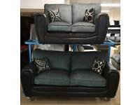 Ex-display 3 and 2 seater Chenile and black sofa set
