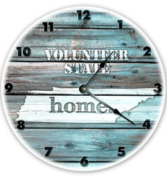 12 TENNESSEE TEAL RUSTIC LOOK CLOCK - Large 12 inch Wall Clock - Printed Decal