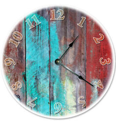 12 COLORED BOARDS RED BROWN TEAL CLOCK - Large 12 inch Wall Clock - 2066