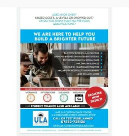 ADMISSIONS OPEN for Business Degree, HNC/HND, Top Up & MA 20/21- Student Finance Available