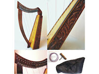 BRAND NEW 19 STRING 30INCH HARP w/ LEVERS-TUNING TOOL, STRING SET, CARRY CASE INCLUDED