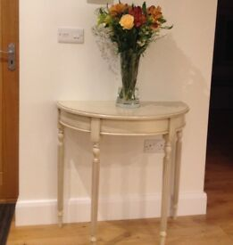 Occasional table - half round - cream - suitable for a hallway
