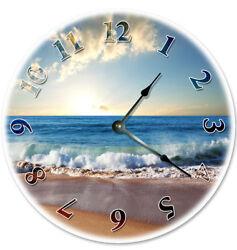 12 CRASHING WAVES ON OCEAN BEACH CLOCK - Large 12 inch Wall Clock - 2041