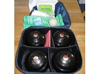 Set of four Vitalite bowling woods size 5 plus carrying bag, jack, cloths, measure and cap