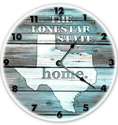 12 TEXAS TEAL RUSTIC LOOK CLOCK - Large 12 inch Wall Clock - Printed Decal