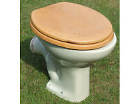 Green WC Toilet Pan Stamped Made In England complete with seat (used)