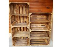 2 Strong&Solid Vintage Wooden Fruit Apple Crates Boxes Cleaned!