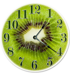 12 KIWI FRUIT KITCHEN CLOCK - Large 12 inch Wall Clock - Printed Decal Image