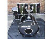 PREMIER DRUM KIT SHELL PACK Black 22 Bass drum, 16 Floor tom, 12 & 13 Rack Toms new skins