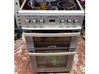 LEISURE ELECTRIC CERAMIC GLASS TOP SILVER COOKER DOUBLE OVEN & GRILL. 50CM.