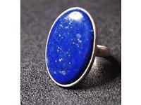Lapis-lazuli Ring (925) Rare Gold-flecked AAA Grade Large Stone - UK R - RRP £80
