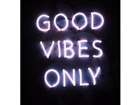 GOOD VIBES ONLY NEON SIGN PINK GLOW LIGHT WALL TROPICAL LEAVES LEAF ART FRAME GREEN BLUE CUSTOM