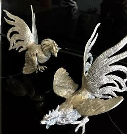 Pair of Silver Fighting Cockrels