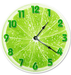 12 GREEN LIME FRUIT CLOCK- Large 12 inch Wall Clock - Printed Decal Image -2064