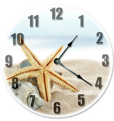 12 STARFISH IN BEACH SAND CLOCK - Large 12 inch Wall Clock - 2000