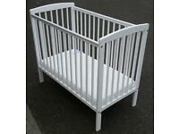wooden cot. white. with clean mattress. 3 level adjustable base height. In excellent good condition.