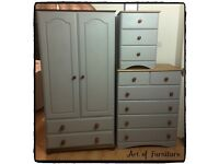 Pine Bedroom Furniture Wardrobe Chest of Drawers Bedside Table Hand Painted Paris Grey Chalk Paint
