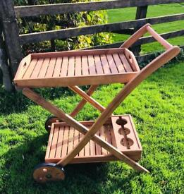 Traditional Wooden Garden Trolley Potting Plant Table / Drinks Carry Table Caddy - Brand New