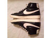 NIKE BLAZER vintage leather trainers 8 UK 42 hi top sneakers Mens Womens black