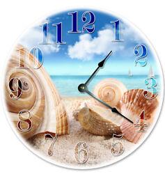 12 SEA SHELLS ON THE BEACH CLOCK - Large 12 inch Wall Clock - 2085