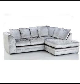 Brand new corner sofa silver crushed velvet