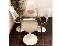 Dining Set Round Glass Table And 4 Tulip Chairs