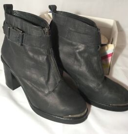 Office Black High Heeled Ankle Boot Size 7